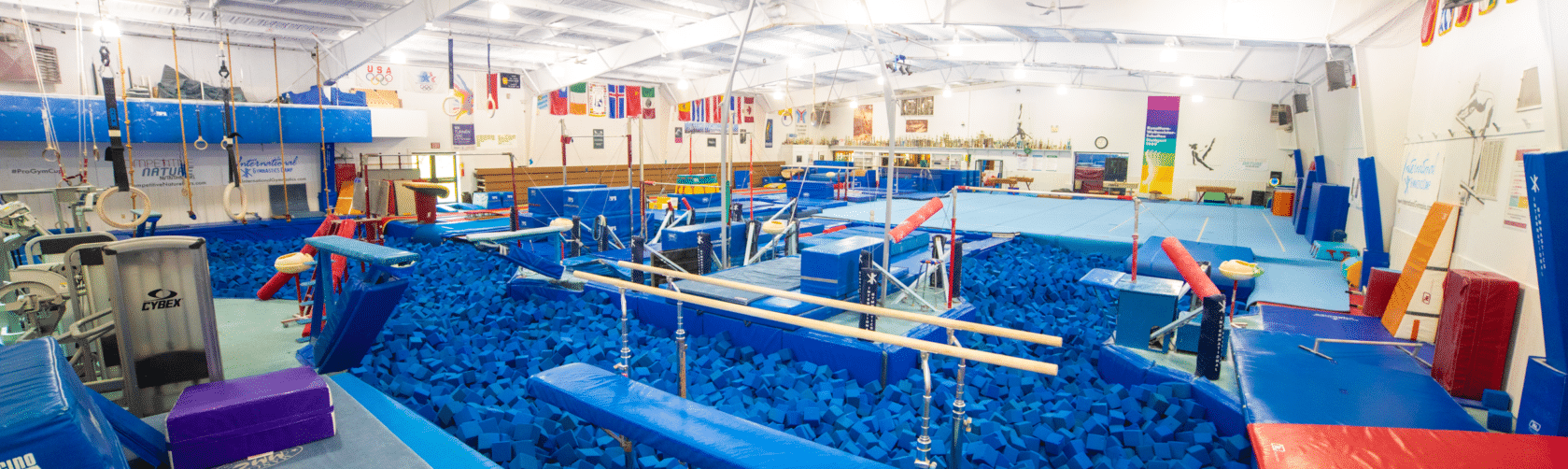 Gymnasium with foam pit and bars